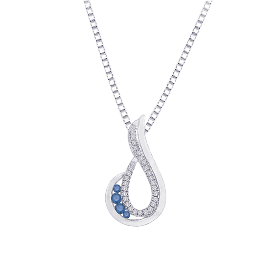 Shah - Blue/White Diamond Necklace - PE0392BLT-25W