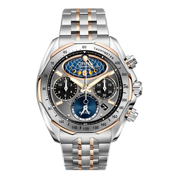 8047bf341 Citizen Men's Eco-Drive Chronograph Signature Moon Phase Flyback Two Tone  Stainless Steel Bracelet Watch