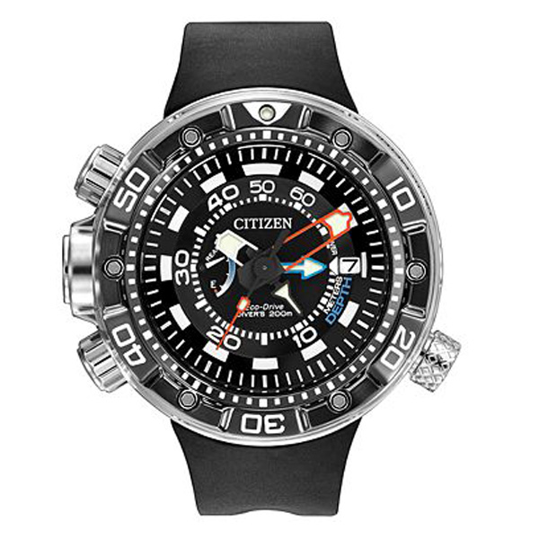 Citizen Men's Eco-Drive Promaster Aqualand Depth Meter Black Polyurethane Strap Watch 53mm