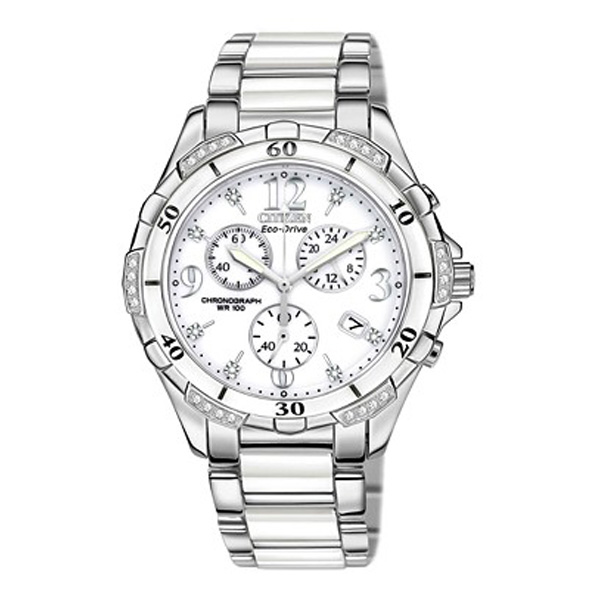 Citizen Women's Chronograph Eco-Drive Diamond Accent Stainless Steel and White Ceramic Bracelet Watch 40mm