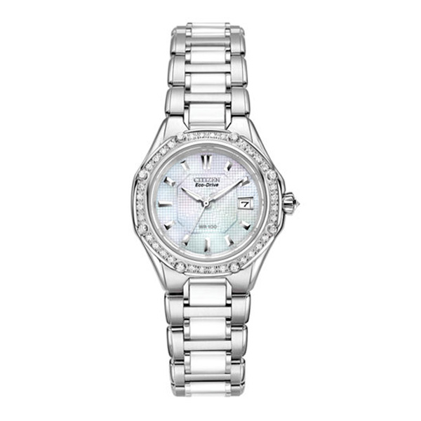 Citizen Women's Eco-Drive Signature Diamond (3/8 ct. t.w.) Ceramic Stainless Steel Bracelet Watch 29mm EW2190-59D