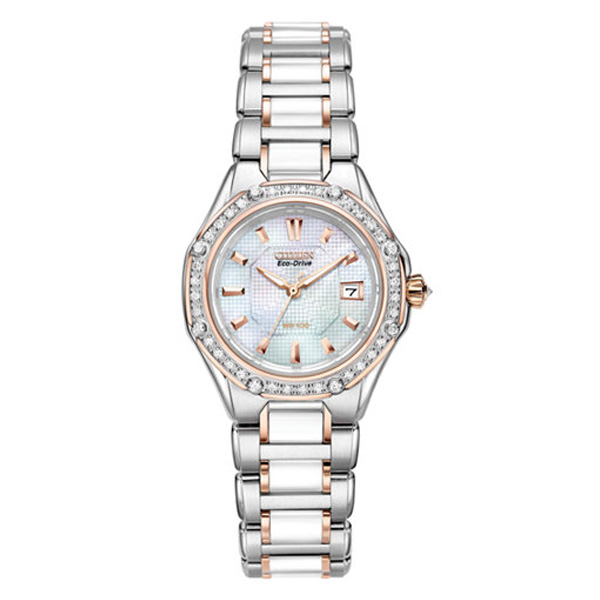 Citizen Women's Eco-Drive Signature Diamond (3/8 ct. t.w.) Ceramic Two Tone Stainless Steel Bracelet Watch 29mm EW2196-52D