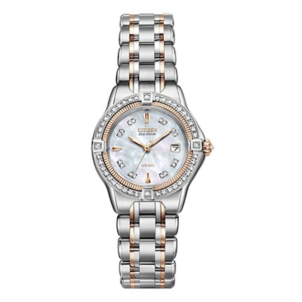 Citizen Women's Signature Quattro Eco-Drive Diamond (1/2 ct. t.w.) Two Tone Stainless Steel Bracelet Watch 29mm EW2066-58D