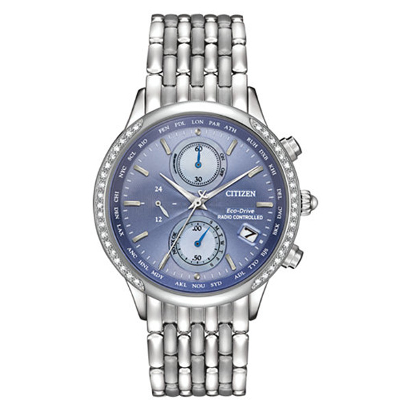 Women's World Chronograph A-T Eco-Drive Diamond Accent Stainless Steel Bracelet Watch 38mm FC5000-51L