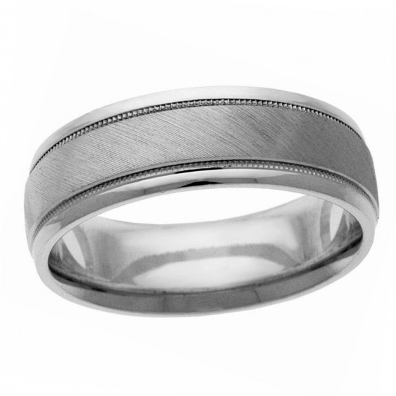 14 KT White Gold Men's Wedding band
