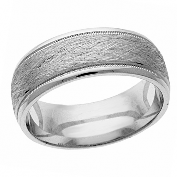 Wedding Band 14 KT White Gold Men's Wedding Band