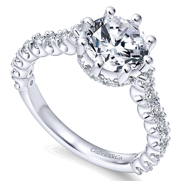 14k White Gold Crown Engagement Ring by Gabriel & Co., New York