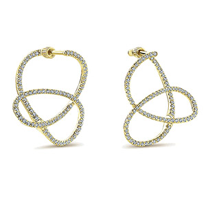 14k Yellow Gold Hoops Intricate Hoop