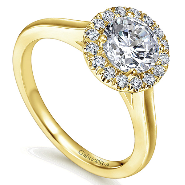 14k Yellow Gold Round Halo