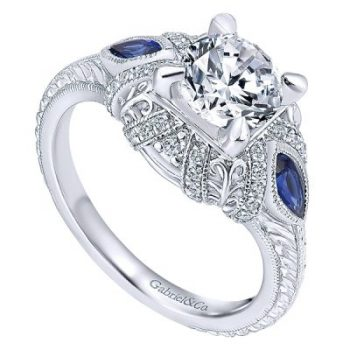 Engagement Ring 14k White Gold Empire