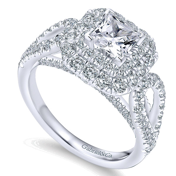 4k White Gold Princess Cut Double Halo