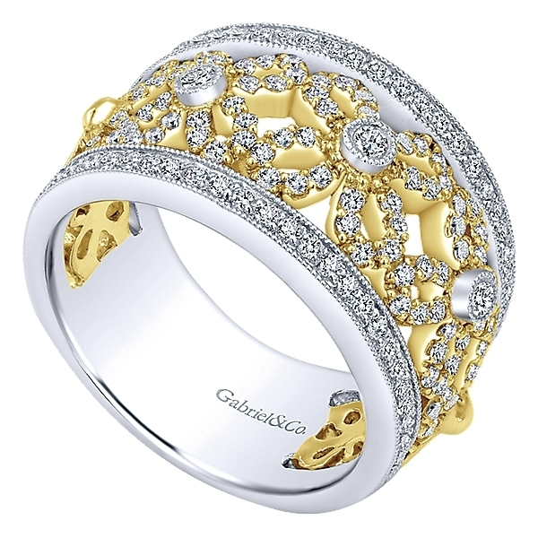 Fashion Jewelry 14k Yellow/white Gold Lusso Diamond Wide Band Ladies' Ring