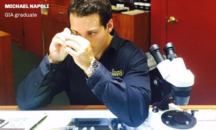 On-site specialist Michael Napoli, Graduate of GIA in Diamonds & Diamond Grading, has comprehensive knowledge of diamonds and colored stones.