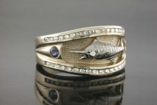 Ladies Sapphire & Diamond Marlin Platform Ring