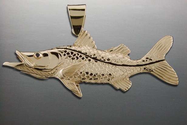 14K Yellow Gold Large Snook Pendant