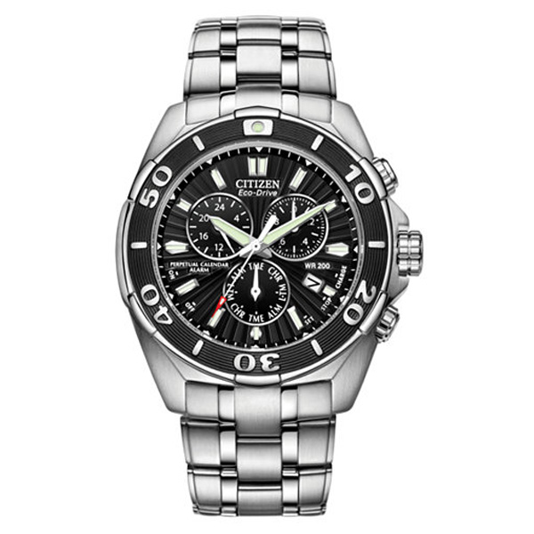 Men's Eco-Drive Signature Perpetual Calendar Chronograph Stainless Steel Bracelet Watch 43mm BL5440-58E