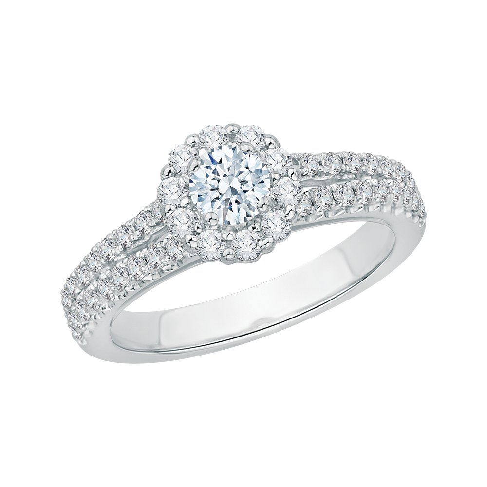 Shah – Split Shank Halo Engagement Ring