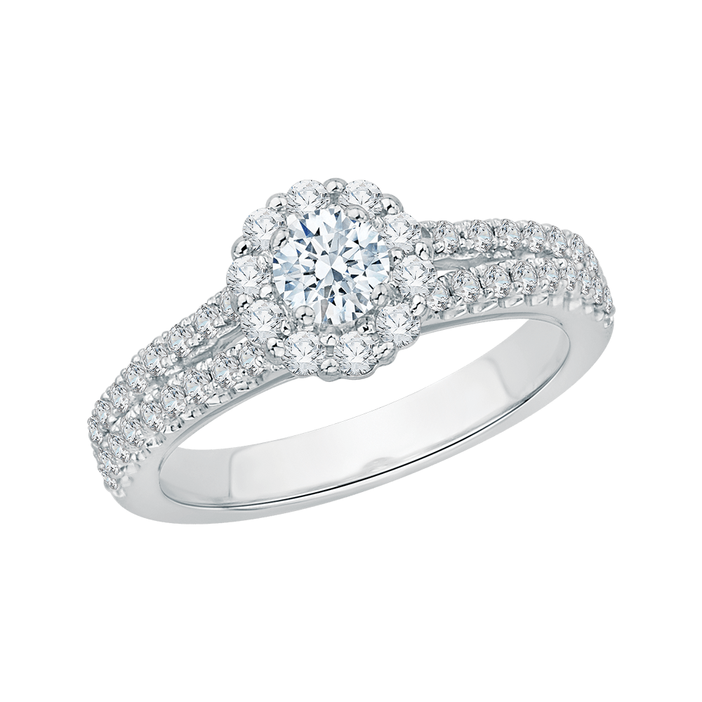 Shah - Split Shank Halo Engagement Ring - PP0011EC-02W