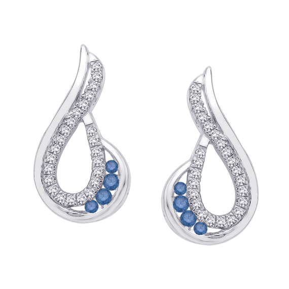 Fashion Jewelry Shah – Blue/White Diamond Earrings