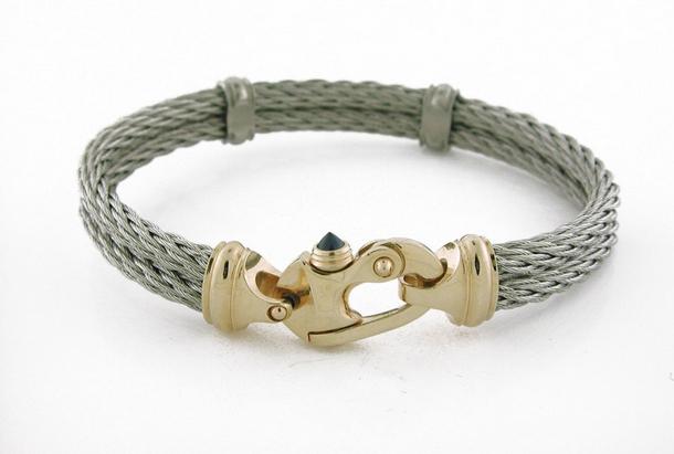 Stainless Steel 14KY gold Neuveau Cable Bracelet