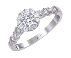 14K White Gold With 0.25ct. Diamond Engagement Ring