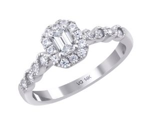 14K White Gold With 0.25ct. Emerald Cut Diamond Engagement Ring