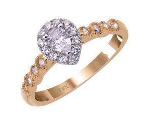 14K Yellow Gold With 0.25ct. Pear Shape Diamond Engagement Ring