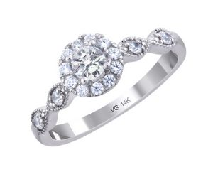 14K White Gold and Diamond Halo Engagement Ring