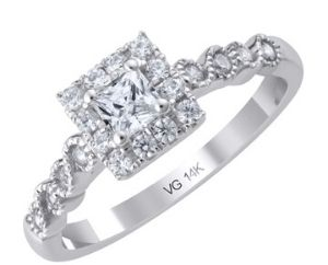 14K White Gold Diamond Engagement Ring with 0.25ct. Princes Cut Diamond Center Stone