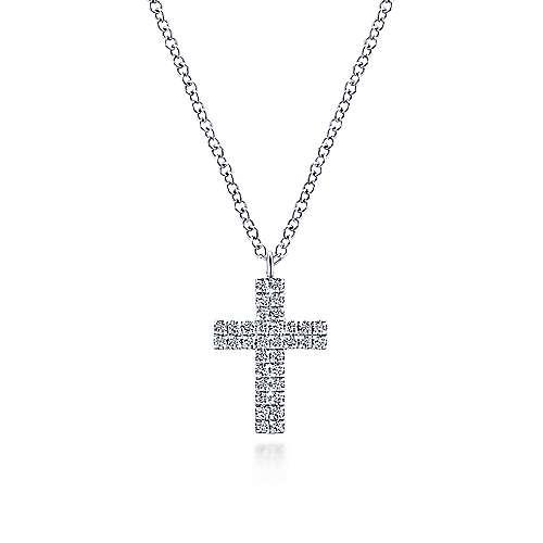 14K White Gold Diamond Cross Pendant Necklace designed by jewelry designer Gabriel & Co., New York. Passion, Love & You.