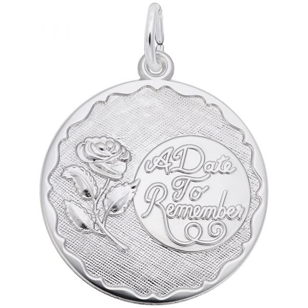 Commemorate your favorite memories with an engraving on our A Date To Remember With Rose Disc Charm. Available in silver and gold.