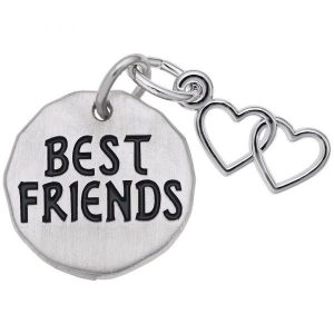 Show your special bond with the Best Friends Charm Tag with open hearts accent. Charm is available in silver and gold.