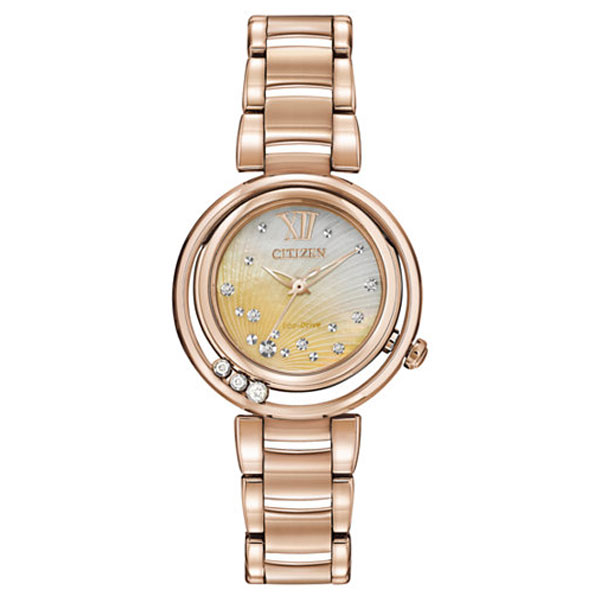 Come in and check out our Citizen Women's Eco-Drive Diamond Accent Rose Gold-Tone Stainless Steel Bracelet Watch.