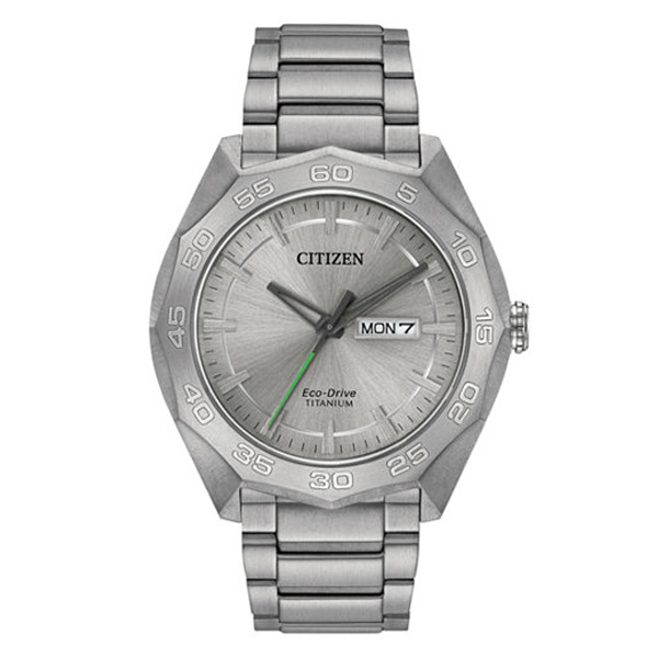 Citizen Men's Eco-Drive Silver-Tone Titanium Bracelet Watch, 40% lighter than stainless steel and 5 times harder to resist scratches.