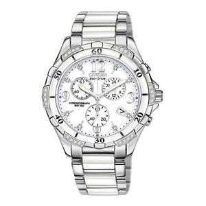 Citizen Women's Chronograph Eco-Drive Diamond Accent Stainless Steel and White Ceramic Bracelet Watch 40mm, stylish and light-weight.