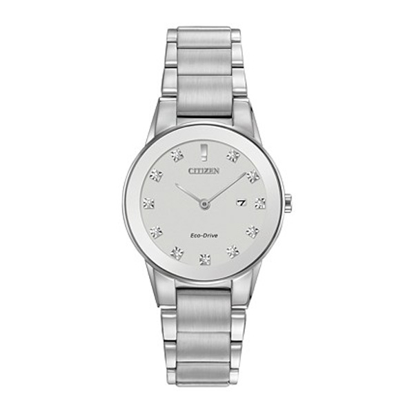Citizen Women's Eco-Drive Axiom Diamond Accent Stainless Steel Bracelet Watch, with stainless steel case and bracelet with silver dial.
