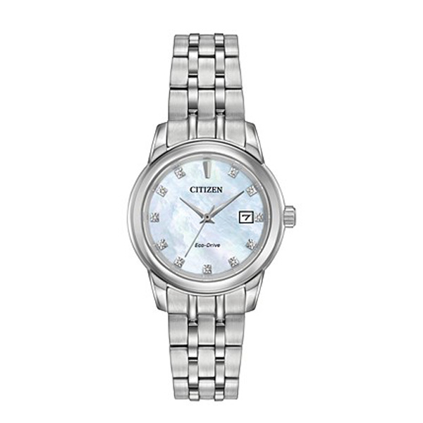 Citizen Women's Eco-Drive Diamond Accent Stainless Steel Bracelet watch, adds extra touch of elegance with bright white Mother-of-Pearl dial.