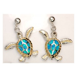 Sterling Silver and 18kt overlay ball dangle mother of pearl turtle earrings. Come in and check out Joseph's Jewelry nautical jewelry.