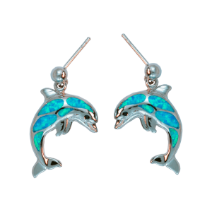 Sterling Silver ball dangle created opal dolphin earrings. Come in and check out Joseph's Jewelry unique nautical jewelry.