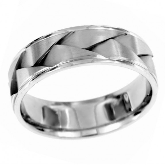 14 KT White Gold Men's Wedding Band by Endless Designs. Hand etched and detailed. Customization options are available.