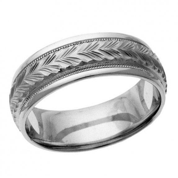 14 KT Yellow Gold Men's Wedding Band by Endless Designs. Hand etched and detailed. Customization options are available.