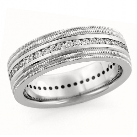 14 KT Yellow Gold Men's Wedding Band by Endless Designs shown in 7mm .25ct tw. Customization options are available.
