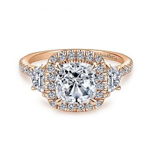 14K Rose Gold Cushion Three Stone Halo Diamond Engagement Ring - designed by Jewelry Designers Gabriel & Co., New York. Passion, Love & You.