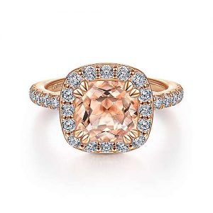 14K Rose Gold Morganite and Diamond Halo Engagement Ring - designed by Jewelry Designers Gabriel & Co., New York. Passion, Love & You.