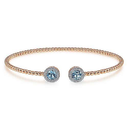 14K Rose Gold Round Blue Topaz and Diamond Halo Bujukan Bangle - designed by Jewelry Designers Gabriel & Co., New York. Passion, Love & You.