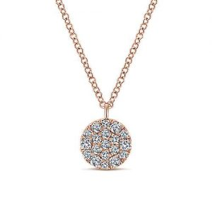 14K Rose Gold Round Diamond Disc Pendant Necklace - designed by Gabriel & Co., New York. Passion, Love & You.
