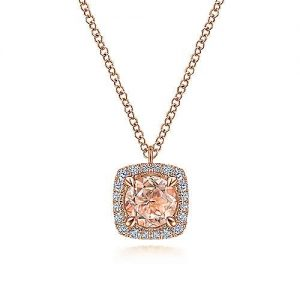 14K Rose Gold Round Morganite and Cushion Diamond Halo Pendant Necklace - designed by Jewelry Designers Gabriel & Co., New York. Passion, Love & You.