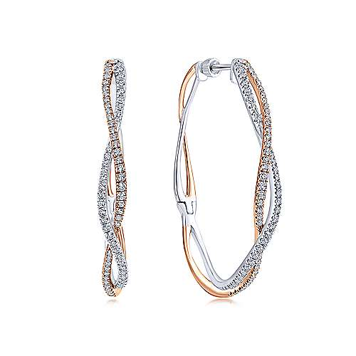 14K Rose-White Gold French Pavé 40mm Round Twisted Diamond Hoop Earrings - designed by Gabriel & Co., New York. Passion, Love & You.