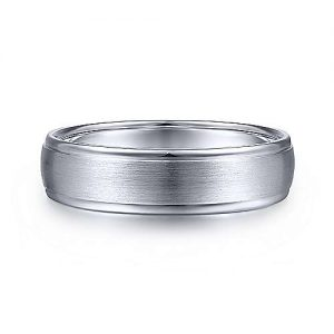 14K White Gold 6mm - Rounded Satin Polished Edge Mens Wedding Band - designed by Gabriel & Co., New York. Passion, Love & You.