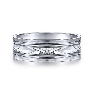 14K White Gold 7mm Diamond Cut Center Mens Wedding Band, the unparalleled craftsmanship that honors the lifetime of happiness ahead of you.